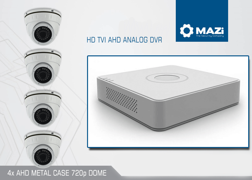 MAZi TVI/AHD/ANALOG HD DVR 25fps sa 4x AHD/720p/METAL DOME!